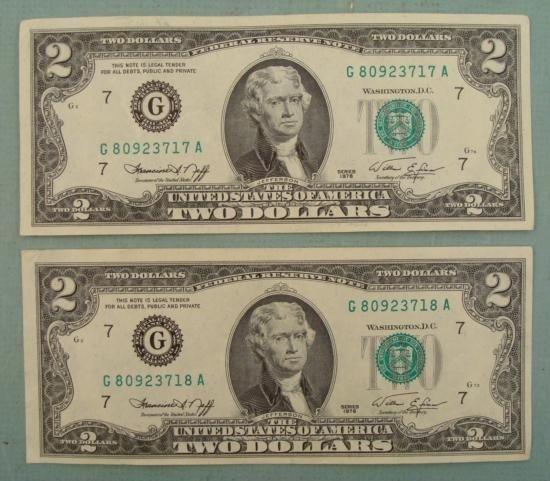 2) 1976 Consecutive # $2 Bills CU G Mint Mark Chicago