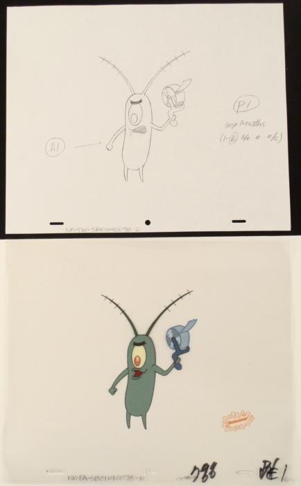 Production Original SpongeBob Drawing Tape Evil Cel Art