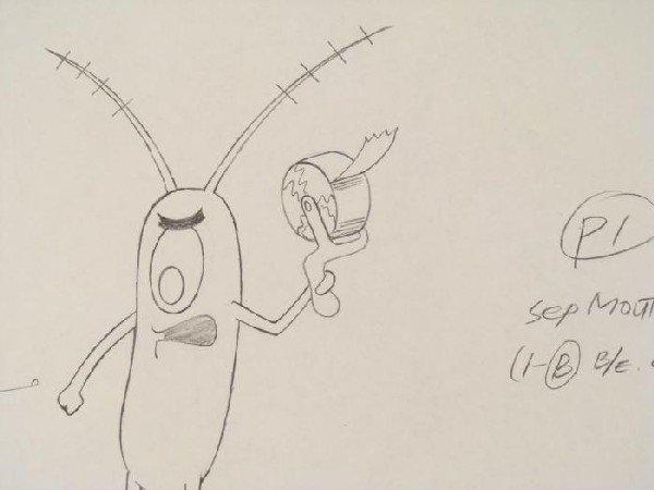 Production Original SpongeBob Drawing Tape Evil Cel Art - 2