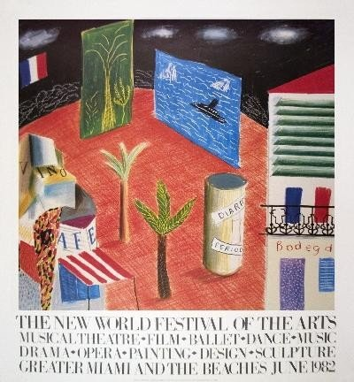 1982 Hockney Detail from The Zanzibar with Postcards an