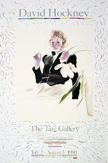 1972 Hockney Celia In A Black Dress With White Flowers