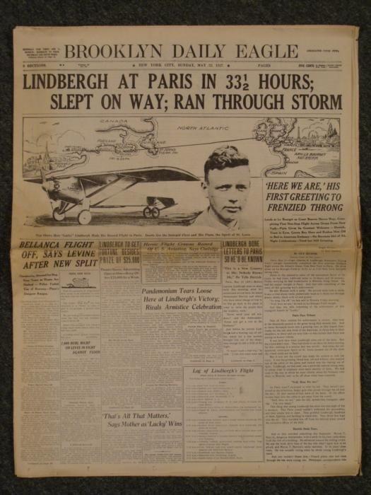Charles Lindbergh Newspaper Cover Brooklyn Daily Eagle