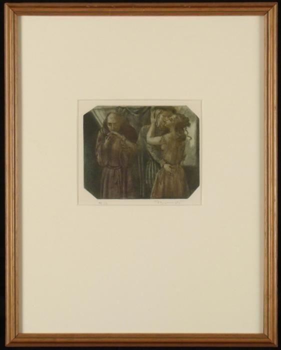 Romantic Kiss Classical Drawing Art Print Framed