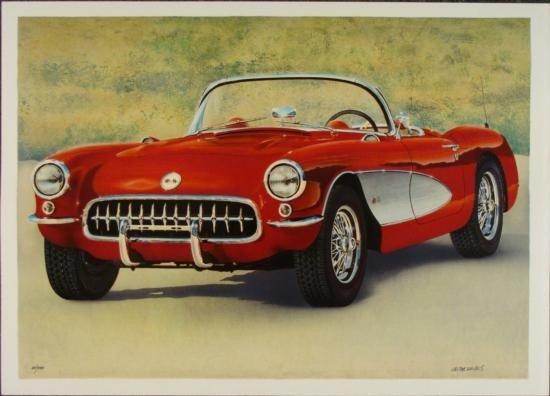 Valter de Morais Signed Corvette Art Print Red Fifties