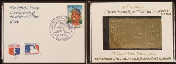 Willie Mays Hall of Fame Baseball 23 Karat Gold Stamp