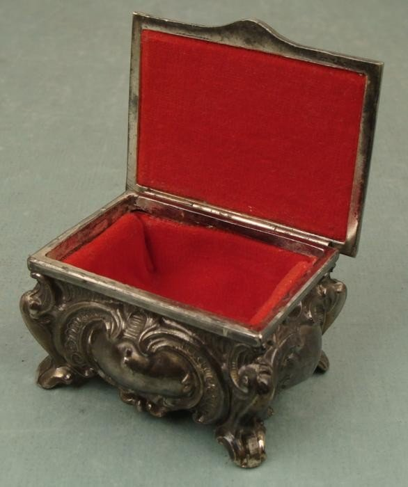 Art Nouveau Vintage Small Metal Jewelry Box M Marked