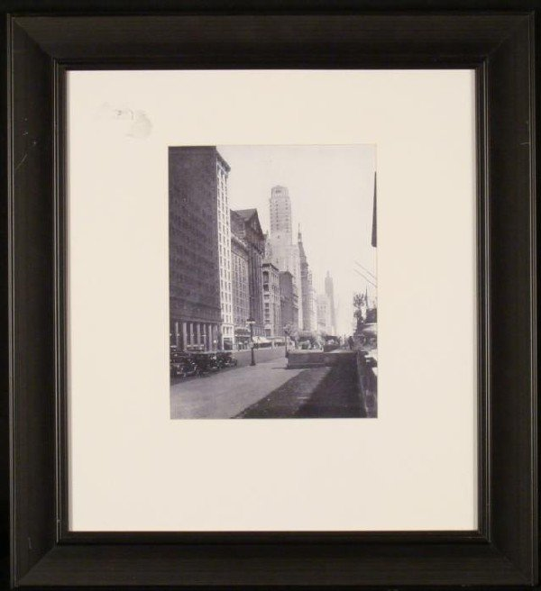 1920s Chicago Michigan Ave B & W Photograph Framed
