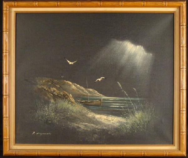 Haymson Original Oil Painting Harbor Seagulls Boat Art