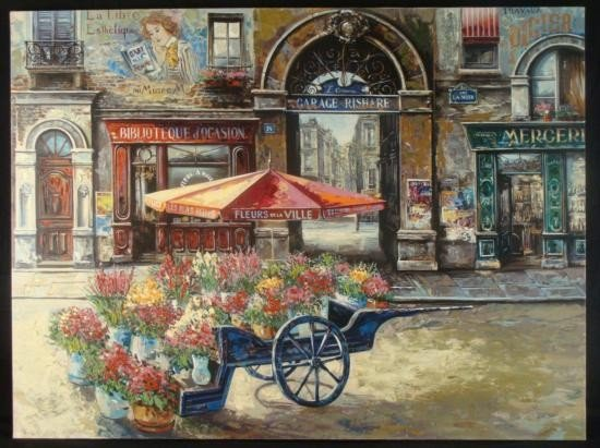 Vadik Suljakov Lrg Signed Print Fleurs d la Ville Paris