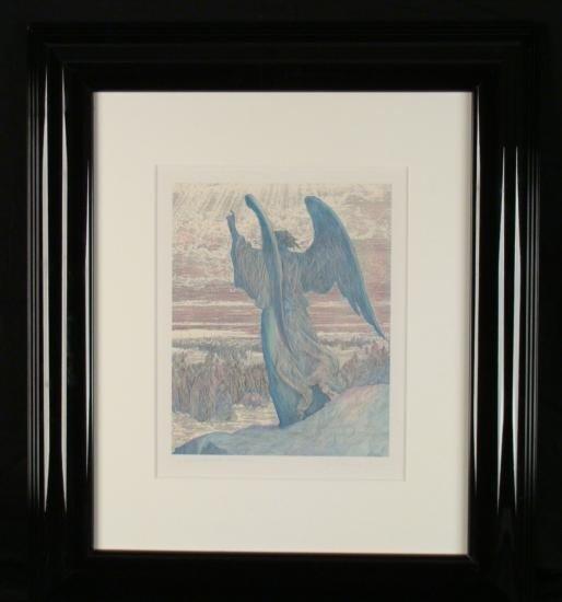 Guillaume Azoulay Original Etching Watercolor Joshua
