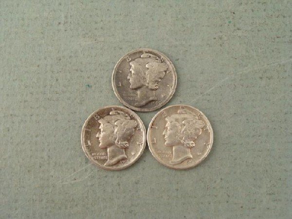 3 Nice Early Mercury Dimes Semi Keys 1920D, 1931S, 1942