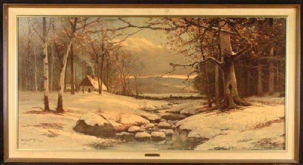 Robert Wood Large Winter Nature Scene Art Print Framed