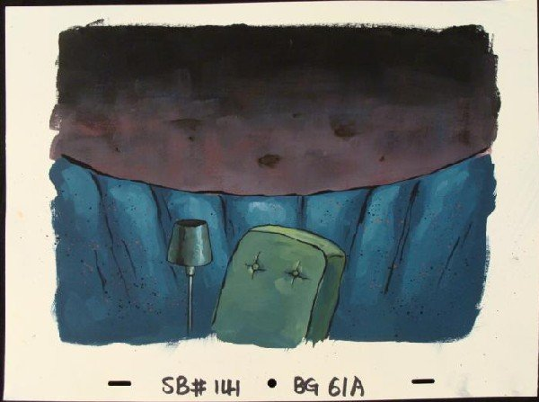 SpongeBob Original Under Rock Production Background Art