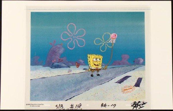 SpongeBob Stick Original Animation Cel Background Art
