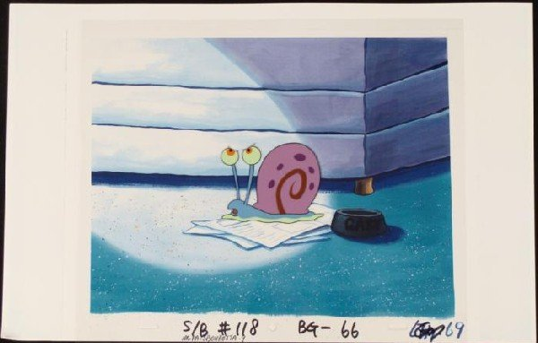 Angry Gary Original SpongeBob Animation Background Cel