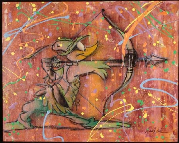 Dick Duerrstein Daffy Duck Robin Hood Original Painting