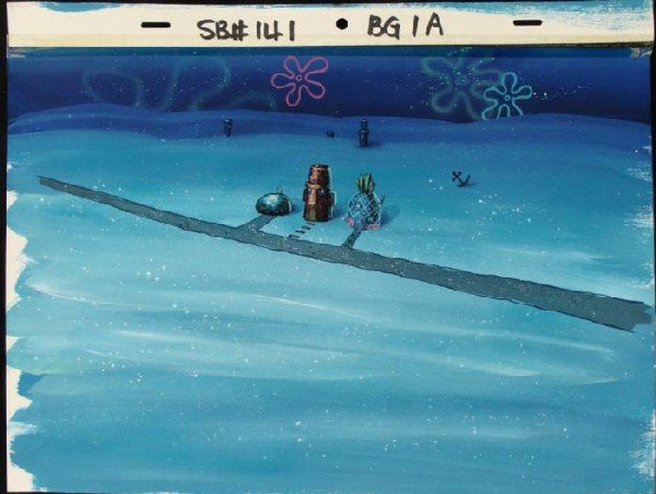 Night Time SpongeBob Production Art Background Bikini