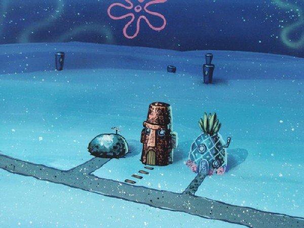 Night Time SpongeBob Production Art Background Bikini - 2
