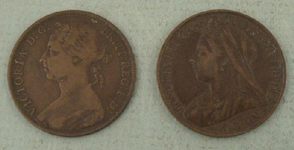 2 Great Britain Large Penny Cents 1891, 1896 F-XF