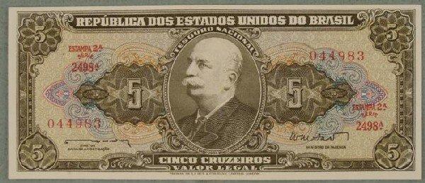 Brazil 5 Cruzeiros Paper Money South American Bill CU