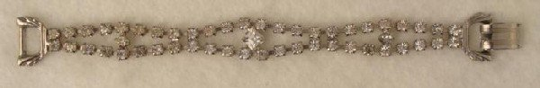 Art Deco Chrome Bracelet Vintage Faux Diamonds