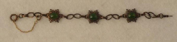 Sterling Jade Vintage Bracelet Chain Style Costume