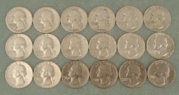 18 Washington Quarters 1937-1967 12 Silver, 15 Diff