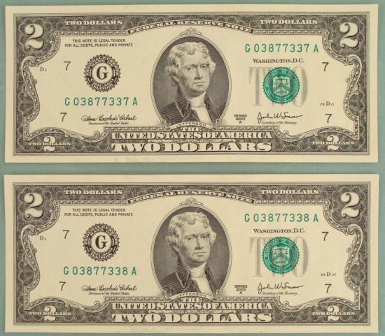 2 Consec # 2003 A $2 Bills Chicago G Mint Notes CU