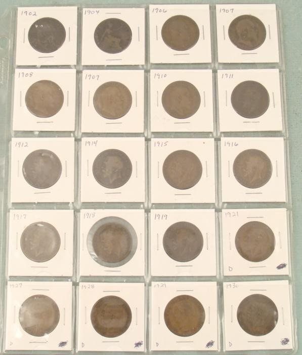 English Large Cent Collection 1902-1930 20 Coins