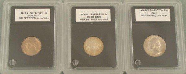 3 Slabbed MS70 Coins 1954S, 2005 Nickel, 1976 Quarter