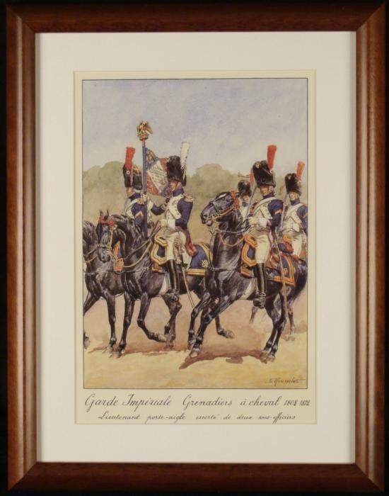 French Lt Napoleon Cavalry Grenadier Print Rousselot