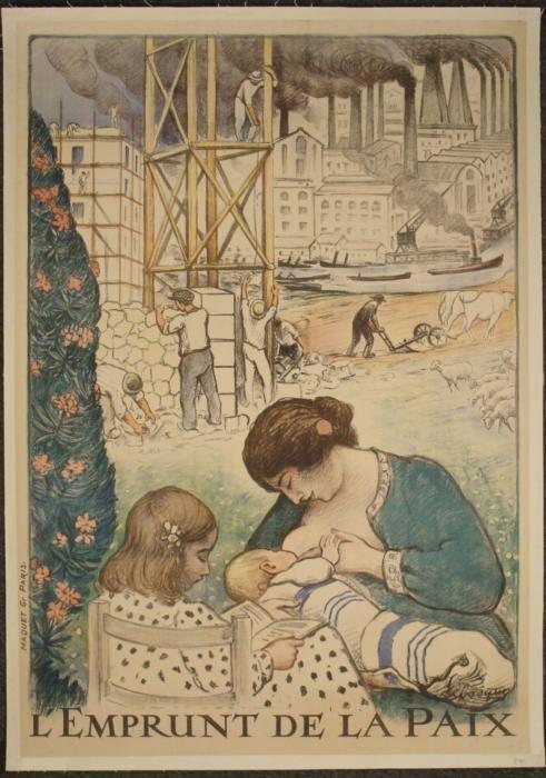 LEmprunt deLapaix Orig Vintage Poster WWI Lebasque
