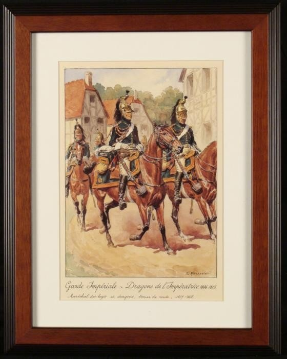 French Napoleon Cavalry Dragons Empress Print Rousselot
