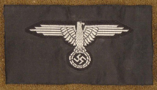 WWII SS SLEEVE EAGLE-OFFICERS WOVEN-BULLION THREAD