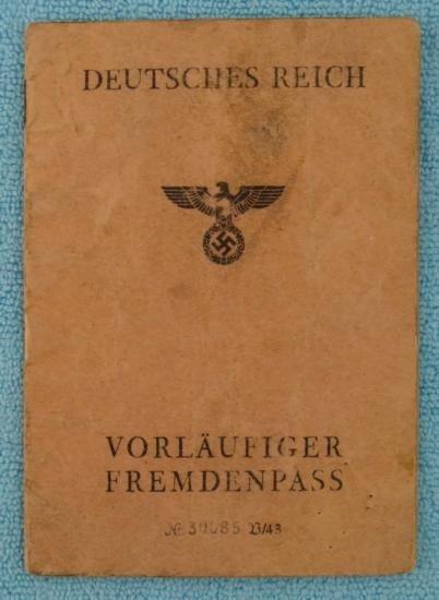 NAZI PASSPORT FOR FOREIGNER FERRUCCIO GAMBINI WWII