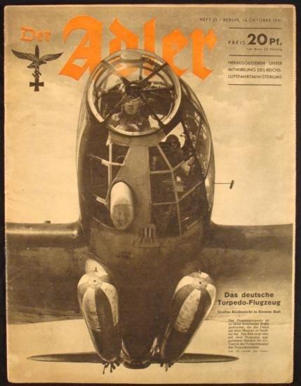 NAZI WWII LUFTWAFFE MAGAZINE  DER ADLER  ORIGINAL