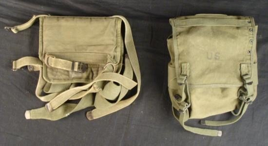 US WWII BROWN CANVAS FIELD PACK AND SECURING BELT