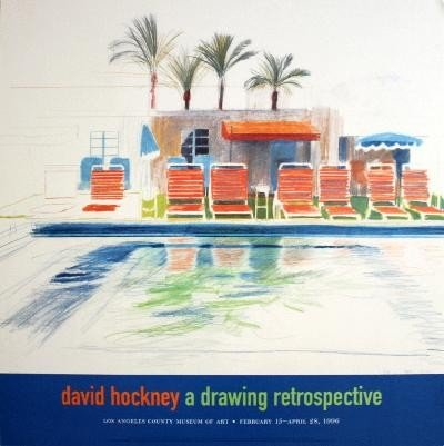 1996 Hockney Eight Sunchairs by a Pool Poster
