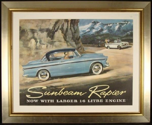 Sunbeam Rapiers Vintage Auto Advertising Poster 1960s