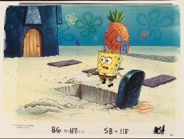 Cel Original SpongeBob Grave Stone Background Animation