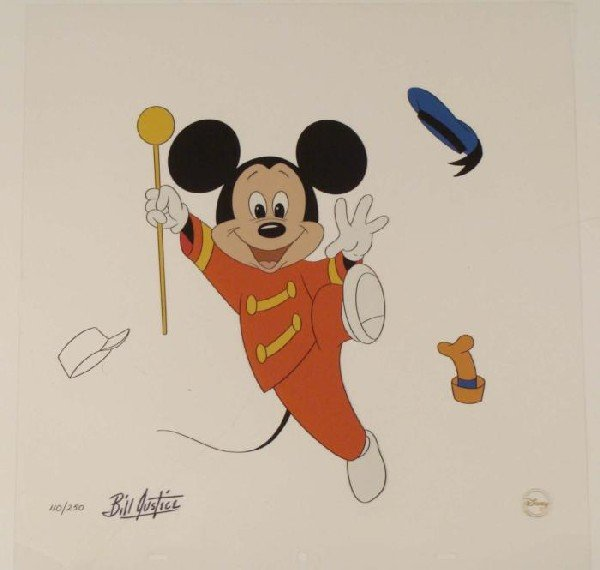 Disney Mickey Mouse LTD ED Sericel -Bill Justice Signed
