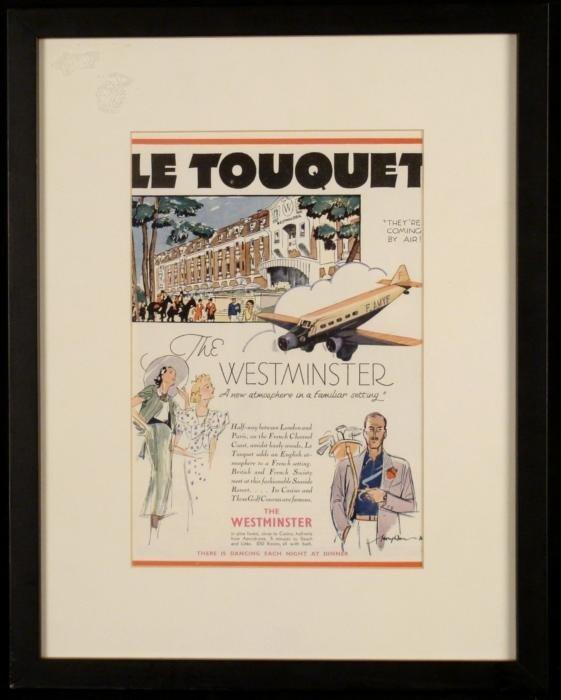 Le Touquet Vintage Resort Hotel Advertisement Framed