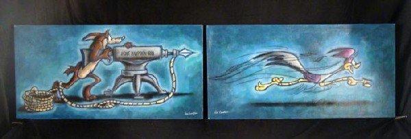 2 Duerrstein Original Paintings Set Road Runner +Coyote