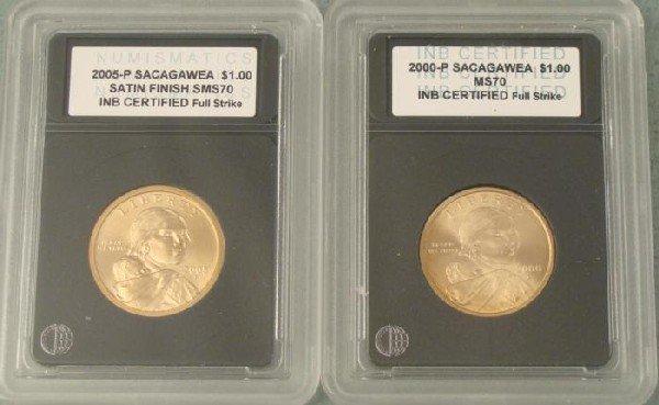 2000-P + 2005-P Sacagawea Slabbed Dollars Coins