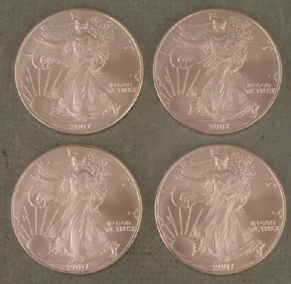 4 2007 Silver Eagle Dollars GEM UNC