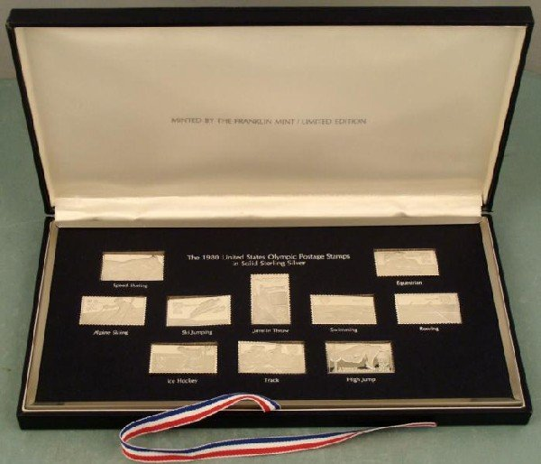 1980 US Olympic Postage Stamp Set Solid Sterling Silver