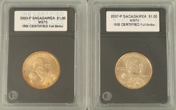 2000-P, 2007-P Sacagawea Dollar Coins Certified MS70