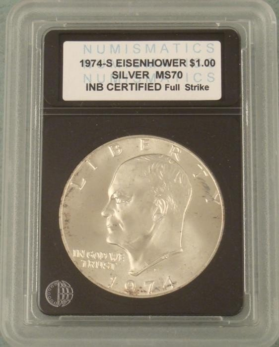1974-S Silver Eisenhower Certified MS70 Dollar Coin