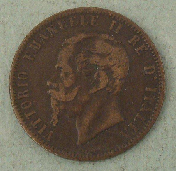 Italy 1867 10 Centisimi Coin- Good Detail