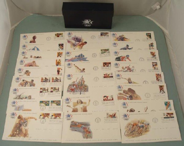 Set of 24 1984 Olympics First Day Covers Stamps in Box